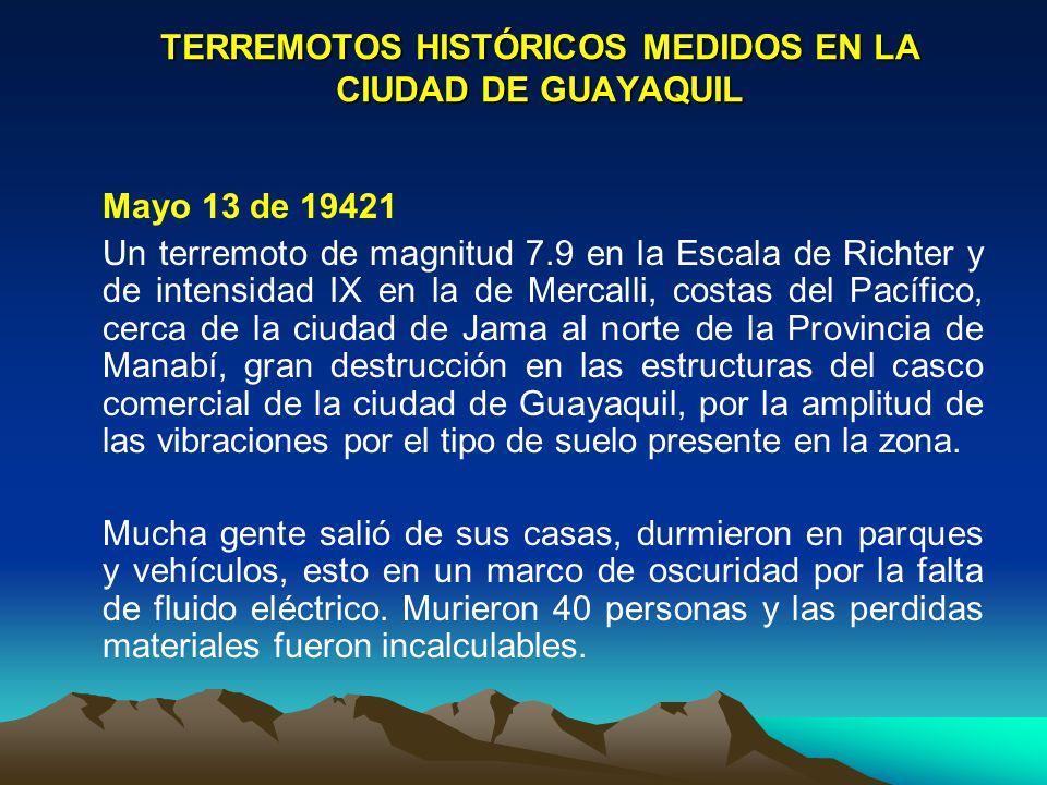 TERREMOTOS HISTÓRICOS MEDIDOS EN LA CIUDAD DE GUAYAQUIL Mayo 13 de 19421 Un terremoto de magnitud 7.9 en la Escala de Richter y de intensidad IX en la