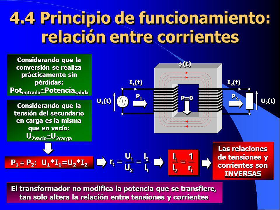 4.4 Principio de funcionamiento: relación entre corrientes U 2 (t) U 1 (t) I 1 (t) I 2 (t) (t) P2P2 P2P2 P1P1 P1P1 P=0 Considerando que la conversión