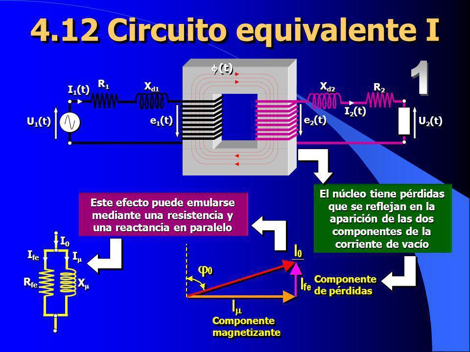 4.12 Circuito equivalente I Componente magnetizante Componente de pérdidas X X I I R fe I fe I0I0 I0I0 El núcleo tiene pérdidas que se reflejan en la