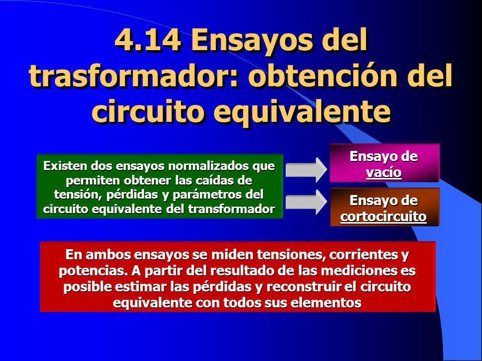 4.14 Ensayos del trasformador: obtención del circuito equivalente En ambos ensayos se miden tensiones, corrientes y potencias. A partir del resultado