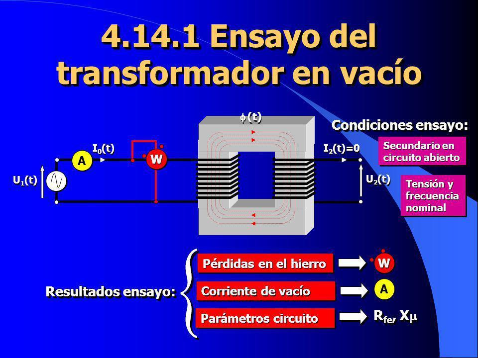 4.14.1 Ensayo del transformador en vacío U 2 (t) U 1 (t) I 2 (t)=0 (t) I 0 (t) A W Secundario en circuito abierto Tensión y frecuencia nominal Condici