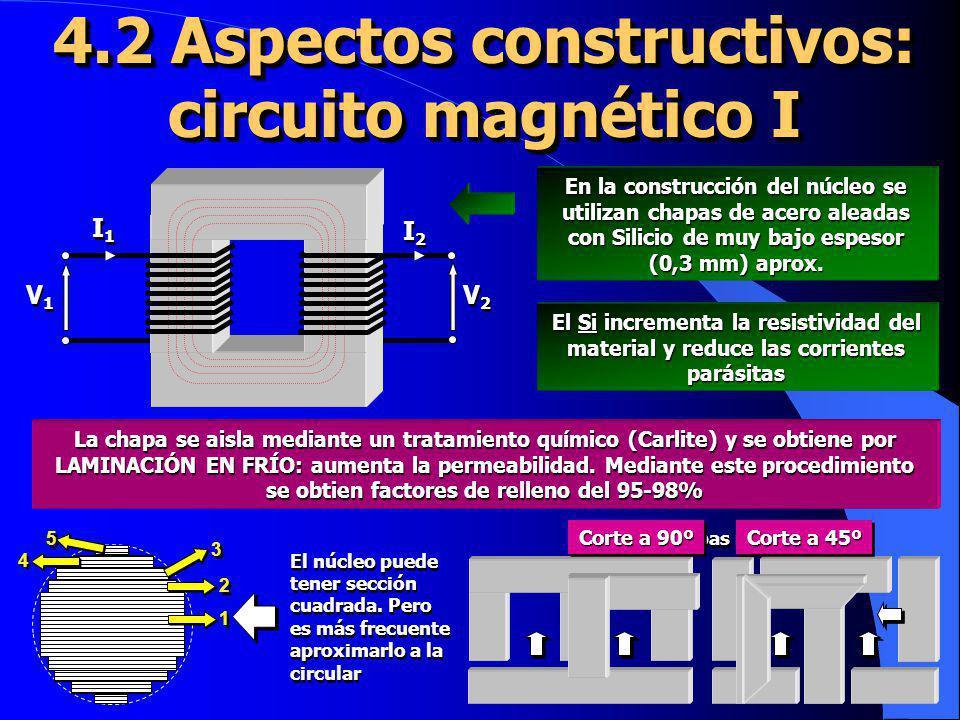 4.12 Circuito equivalente I Componente magnetizante Componente de pérdidas X X I I R fe I fe I0I0 I0I0 El núcleo tiene pérdidas que se reflejan en la aparición de las dos componentes de la corriente de vacío Este efecto puede emularse mediante una resistencia y una reactancia en paralelo rtrt rtrt