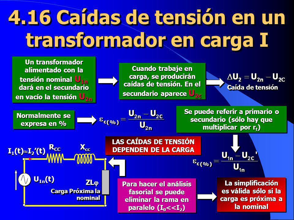 4.16 Caídas de tensión en un transformador en carga I Un transformador alimentado con la tensión nominal U 1n dará en el secundario en vacío la tensió