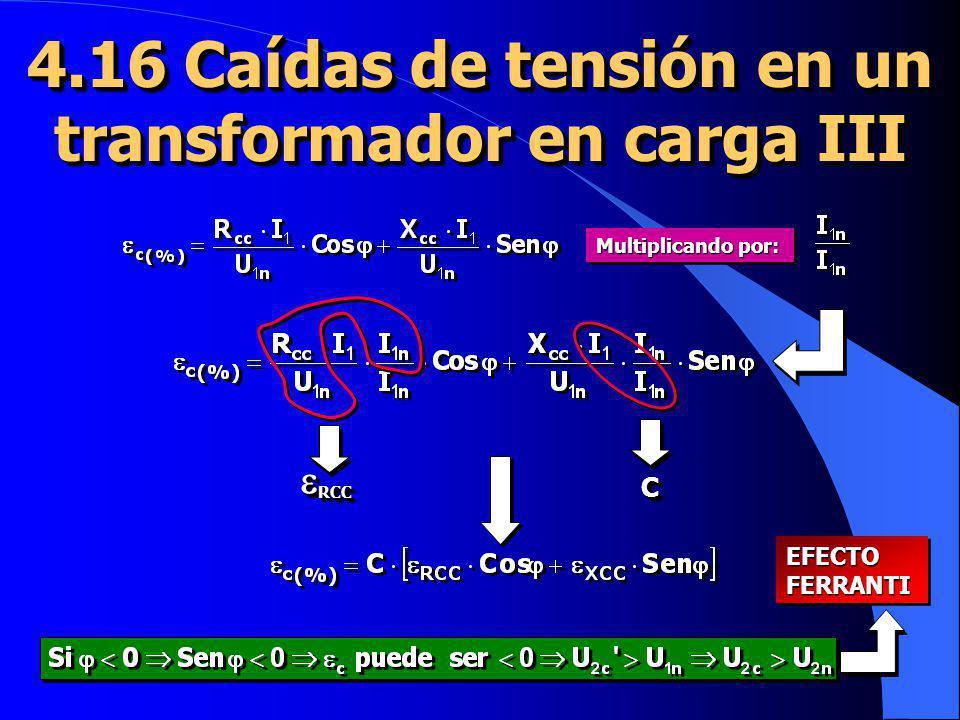 4.16 Caídas de tensión en un transformador en carga III Multiplicando por: CC RCC RCC EFECTOFERRANTIEFECTOFERRANTI