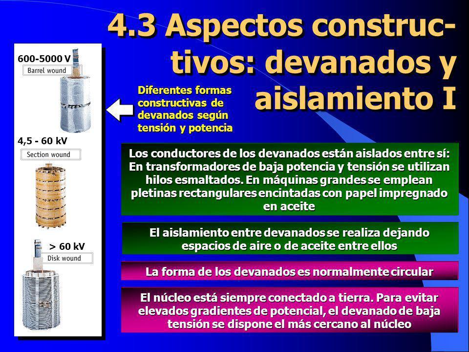4.3 Aspectos construc- tivos: devanados y aislamiento I 600-5000 V 4,5 - 60 kV > 60 kV Diferentes formas constructivas de devanados según tensión y po