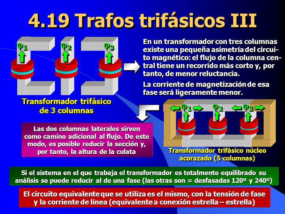 1 1 2 2 3 3 Transformador trifásico de 3 columnas 4.19 Trafos trifásicos III Si el sistema en el que trabaja el transformador es totalmente equilibrad