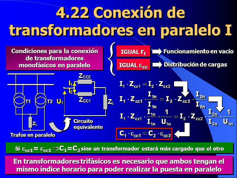 4.22 Conexión de transformadores en paralelo I IGUAL r t Funcionamiento en vacío IGUAL cc Distribución de cargas CircuitoequivalenteCircuitoequivalent