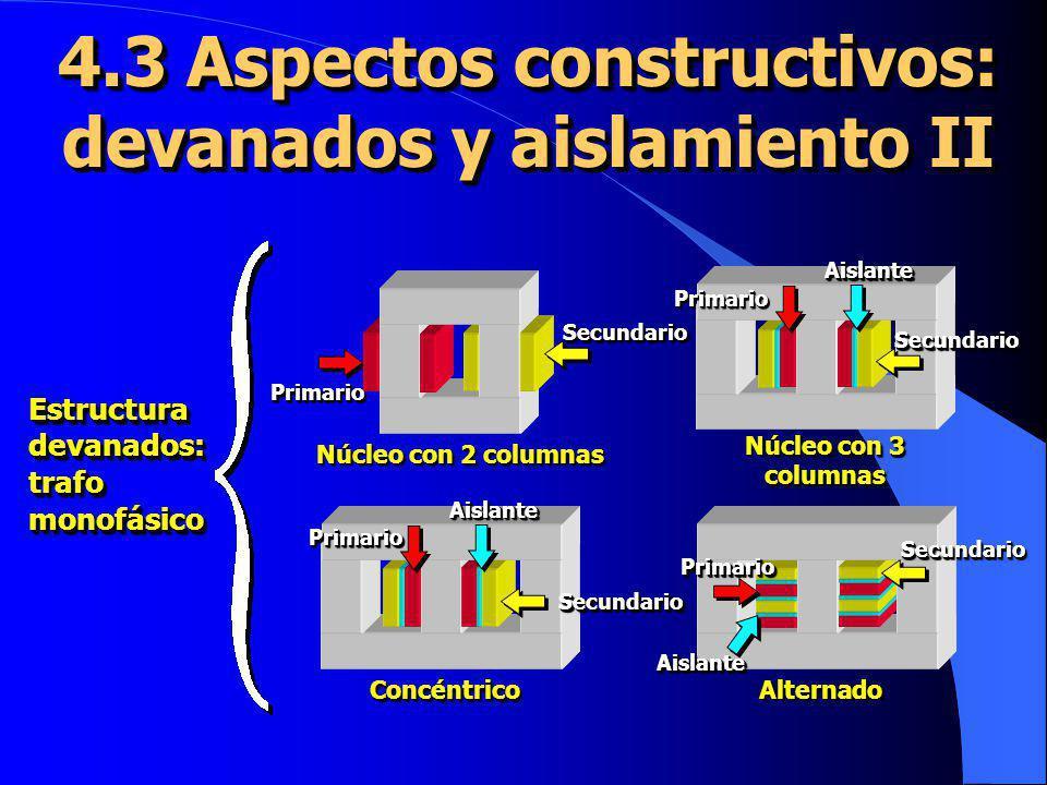 4.13 Circuito equivalente III Como el transformador de 3 es de relación unidad y no tiene pérdidas se puede eliminar, conectando el resto de los elementos del circuito X d1 U 2 (t) U 1 (t) R1R1 R1R1 R 2 X d2 I 2 (t) I 1 (t) X X I I R fe I fe I0I0 I0I0 Circuito equivalente de un transformador real El circuito equivalente permite calcular todas las variables incluidas pérdidas y rendimiento Los elementos del circuito equivalente se obtienen mediante ensayos normalizados Una vez resuelto el circuito equivalente los valores reales se calculan deshaciendo la reducción al primario