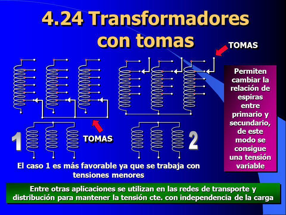 4.24 Transformadores con tomas 4.24 Transformadores con tomas Permiten cambiar la relación de espiras entre primario y secundario, de este modo se con