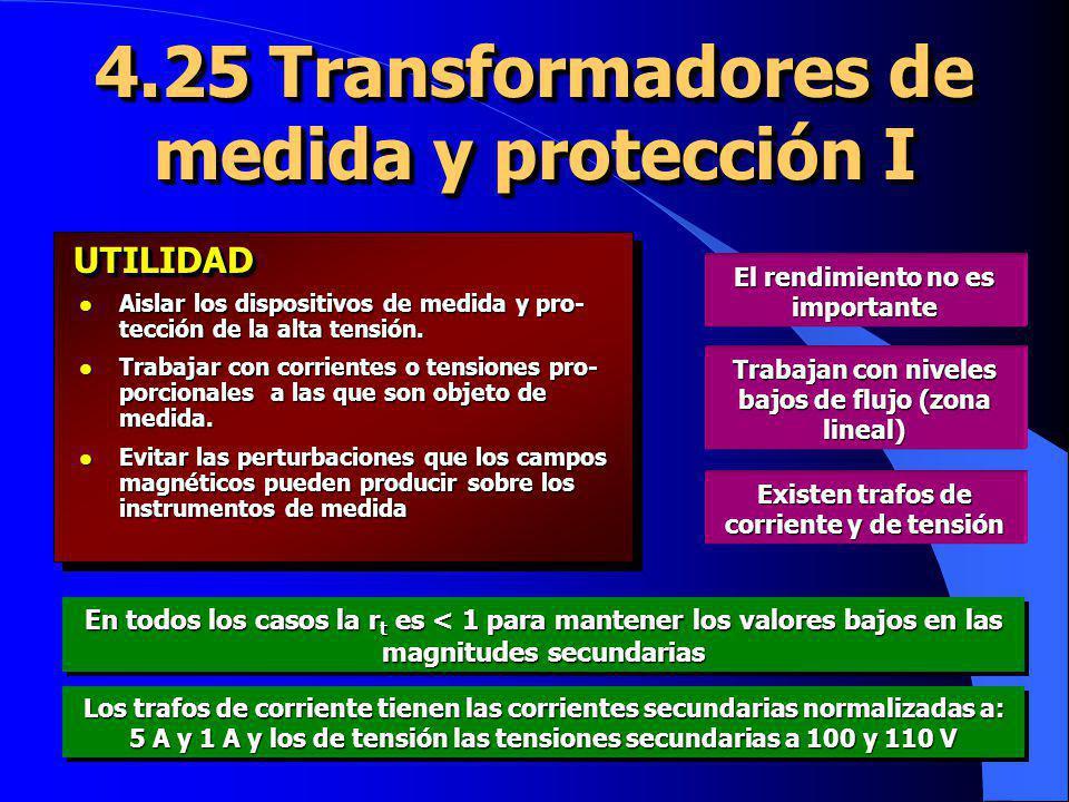 4.25 Transformadores de medida y protección I l Aislar los dispositivos de medida y pro- tección de la alta tensión. l Trabajar con corrientes o tensi