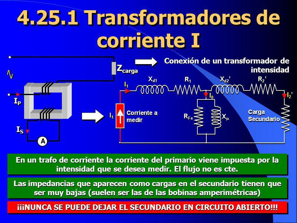 4.25.1 Transformadores de corriente I IPIPIPIP IPIPIPIP ISISISIS ISISISIS Z carga A Conexión de un transformador de intensidad En un trafo de corrient