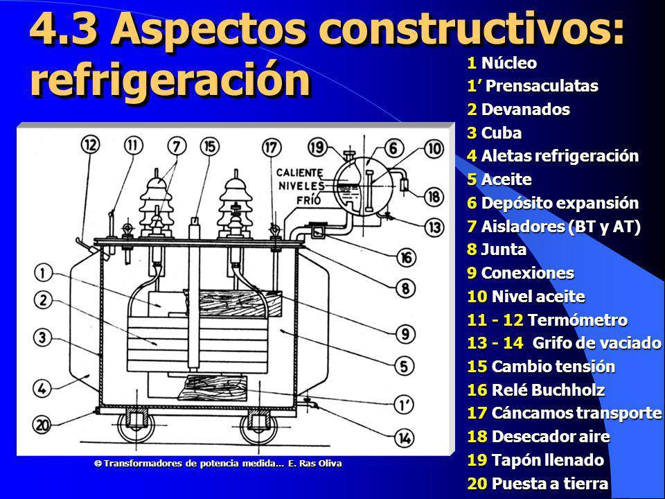 4.3 Aspectos constructivos: refrigeración 1 Núcleo 1 Prensaculatas 2 Devanados 3 Cuba 4 Aletas refrigeración 5 Aceite 6 Depósito expansión 7 Aisladore