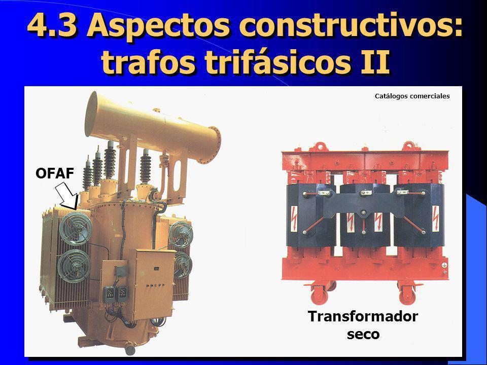 4.8 El transformador en carga I U 1 (t) (t) I 1 (t) R1R1 R1R1 X d1 Flujo de dispersión dispersiónResistenciainternaResistenciainterna e 1 (t) U 2 (t) R2R2 R2R2 ResistenciainternaResistenciainterna X d2 Flujo de dispersión dispersión I 2 (t) e 2 (t) Se ha invertido el sentido de I 2 (t) para que en el diagrama fasorial I 1 (t) e I 2 (t) NO APAREZCAN SUPERPUESTAS El secundario del transformador presentará una resistencia interna y una reactancia de dispersión como el primario Las caídas de tensión EN CARGA en las resistencias y reactancias parásitas son muy pequeñas: del 0,2 al 6% de U 1