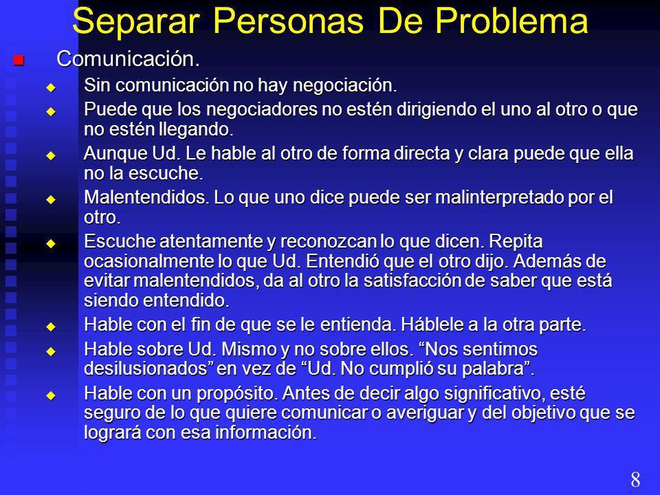 Separar Personas De Problema Comunicación. Comunicación. Sin comunicación no hay negociación. Sin comunicación no hay negociación. Puede que los negoc