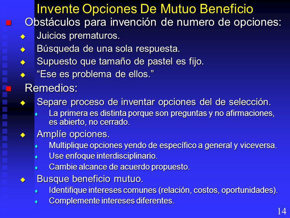 Invente Opciones De Mutuo Beneficio Obstáculos para invención de numero de opciones: Obstáculos para invención de numero de opciones: Juicios prematur
