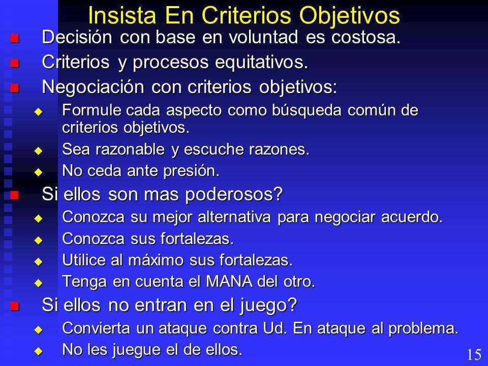 Insista En Criterios Objetivos Decisión con base en voluntad es costosa. Decisión con base en voluntad es costosa. Criterios y procesos equitativos. C