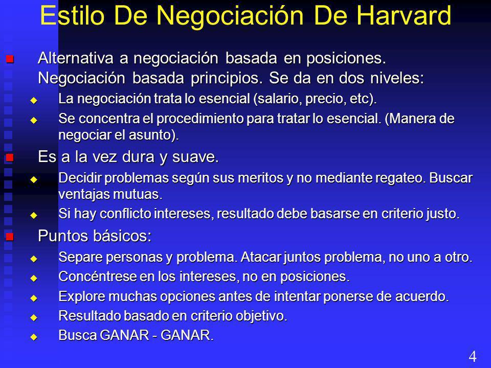 Estilo De Negociación De Harvard Alternativa a negociación basada en posiciones. Negociación basada principios. Se da en dos niveles: Alternativa a ne