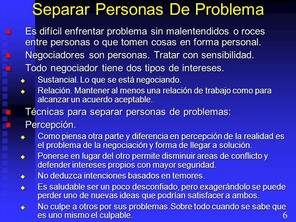 Separar Personas De Problema Es difícil enfrentar problema sin malentendidos o roces entre personas o que tomen cosas en forma personal. Es difícil en