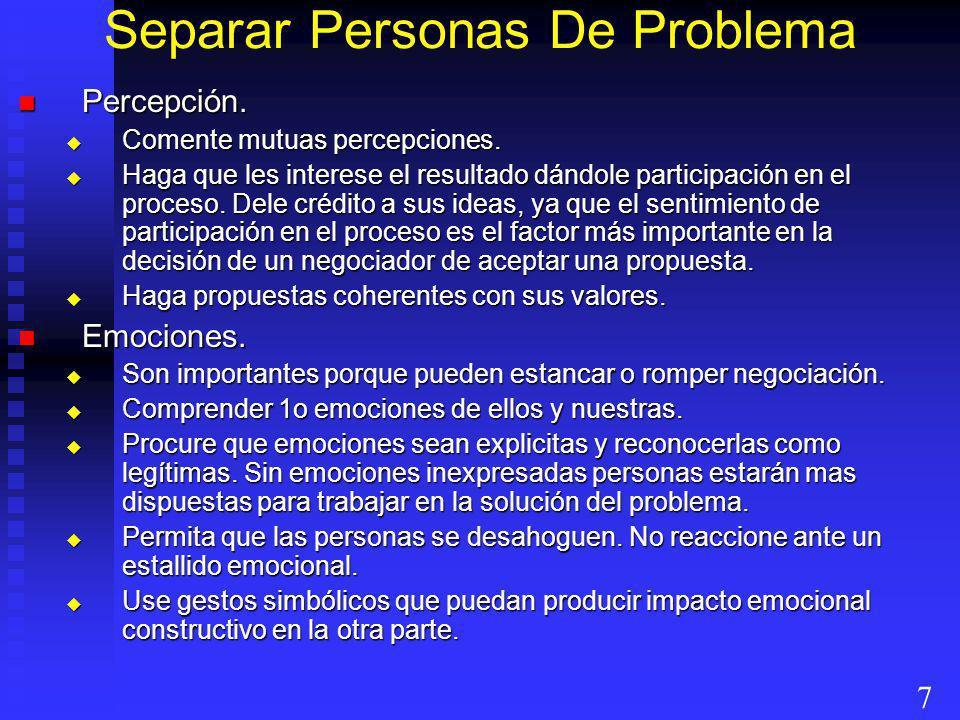 Separar Personas De Problema Percepción. Percepción. Comente mutuas percepciones. Comente mutuas percepciones. Haga que les interese el resultado dánd