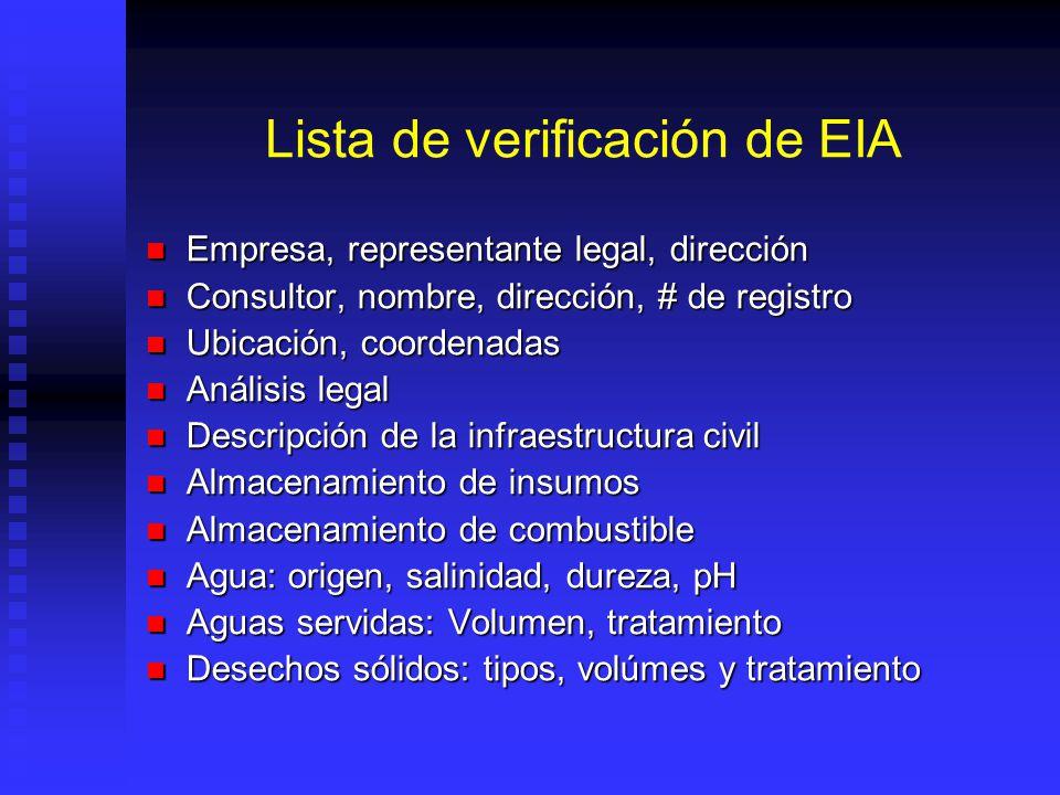Lista de verificación de EIA Empresa, representante legal, dirección Empresa, representante legal, dirección Consultor, nombre, dirección, # de regist