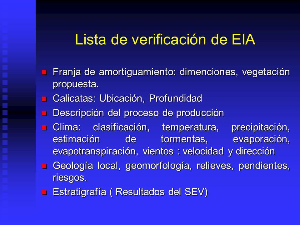 Lista de verificación de EIA Franja de amortiguamiento: dimenciones, vegetación propuesta. Franja de amortiguamiento: dimenciones, vegetación propuest