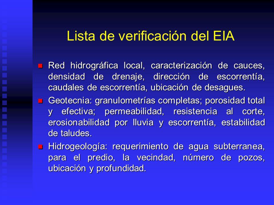 Lista de verificación del EIA Red hidrográfica local, caracterización de cauces, densidad de drenaje, dirección de escorrentía, caudales de escorrentí