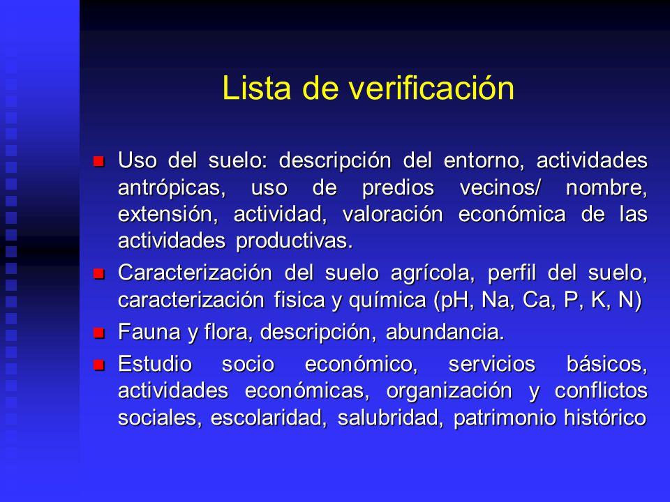 Lista de verificación Uso del suelo: descripción del entorno, actividades antrópicas, uso de predios vecinos/ nombre, extensión, actividad, valoración