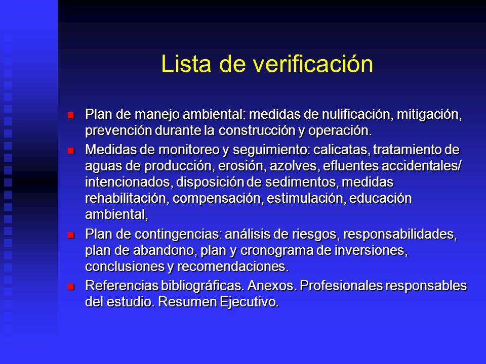 Lista de verificación Plan de manejo ambiental: medidas de nulificación, mitigación, prevención durante la construcción y operación. Plan de manejo am