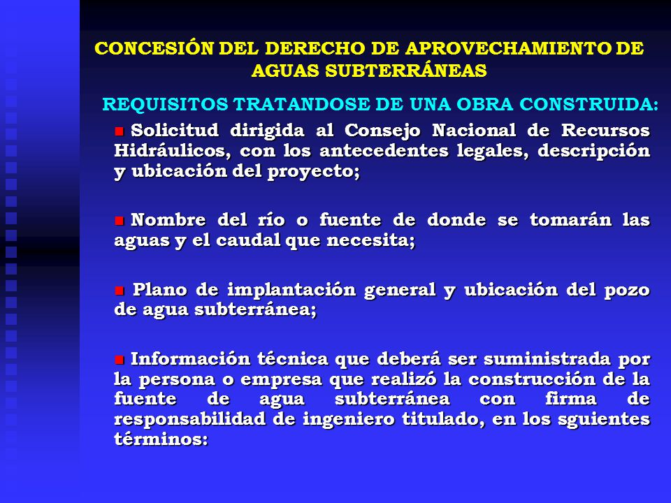 Solicitud dirigida al Consejo Nacional de Recursos Hidráulicos, con los antecedentes legales, descripción y ubicación del proyecto; Solicitud dirigida