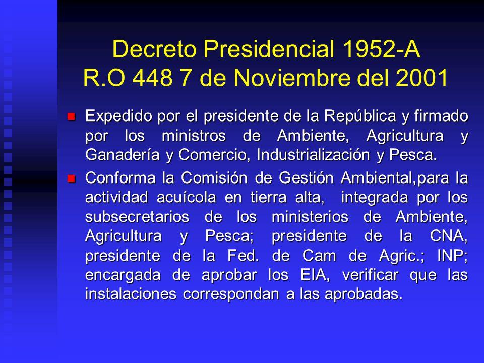 Decreto Presidencial 1952-A R.O 448 7 de Noviembre del 2001 Expedido por el presidente de la República y firmado por los ministros de Ambiente, Agricu