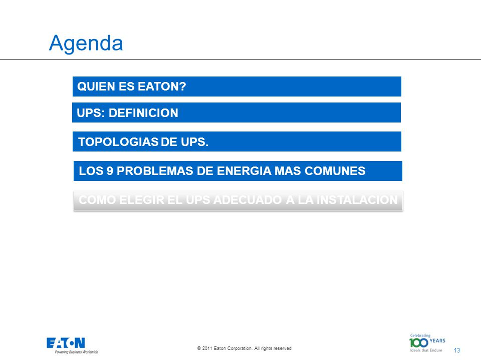 13 © 2011 Eaton Corporation.All rights reserved. Agenda TOPOLOGIAS DE UPS.