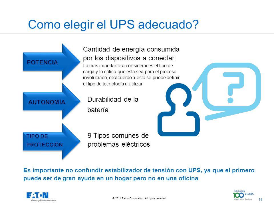 14 © 2011 Eaton Corporation. All rights reserved. Como elegir el UPS adecuado? Durabilidad de la batería Es importante no confundir estabilizador de t