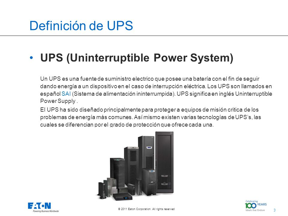 14 © 2011 Eaton Corporation.All rights reserved. Como elegir el UPS adecuado.