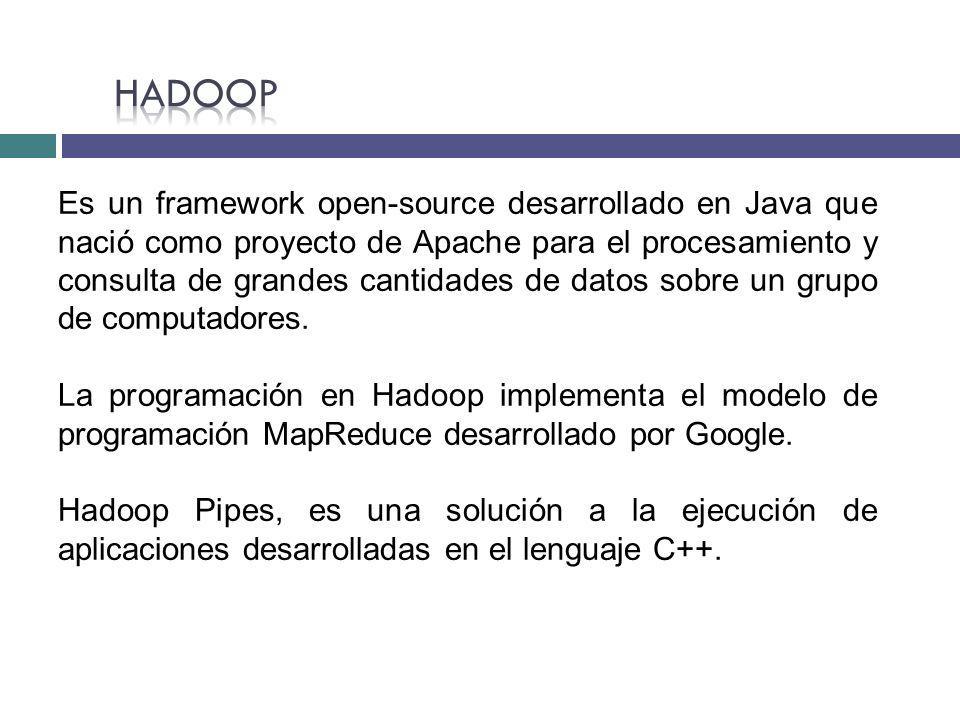 Es un framework open-source desarrollado en Java que nació como proyecto de Apache para el procesamiento y consulta de grandes cantidades de datos sob