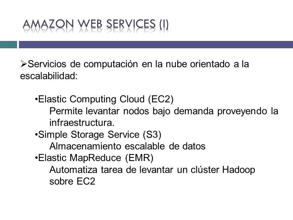Servicios de computación en la nube orientado a la escalabilidad: Elastic Computing Cloud (EC2) Permite levantar nodos bajo demanda proveyendo la infr