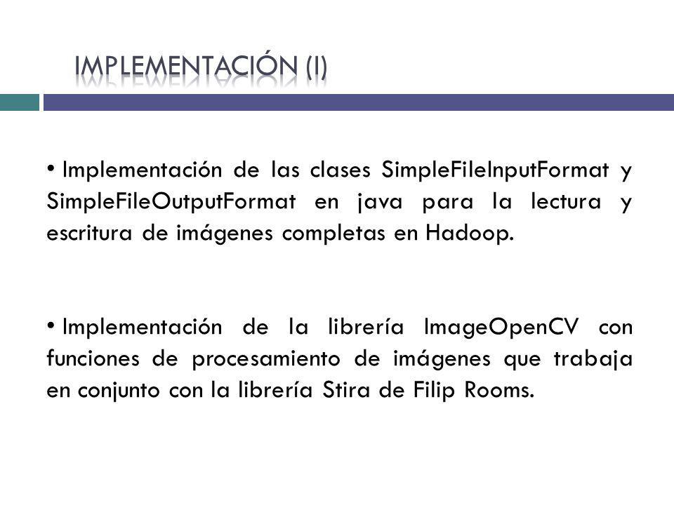 Implementación de las clases SimpleFileInputFormat y SimpleFileOutputFormat en java para la lectura y escritura de imágenes completas en Hadoop. Imple
