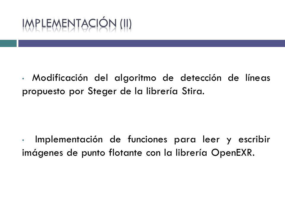 Modificación del algoritmo de detección de líneas propuesto por Steger de la librería Stira. Implementación de funciones para leer y escribir imágenes