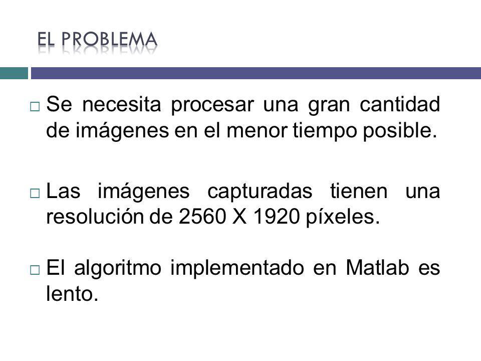 Se necesita procesar una gran cantidad de imágenes en el menor tiempo posible. Las imágenes capturadas tienen una resolución de 2560 X 1920 píxeles. E