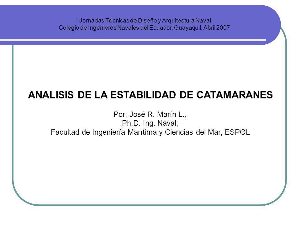 I Jornadas Técnicas de Diseño y Arquitectura Naval, Colegio de Ingenieros Navales del Ecuador, Guayaquil, Abril 2007 ANALISIS DE LA ESTABILIDAD DE CAT