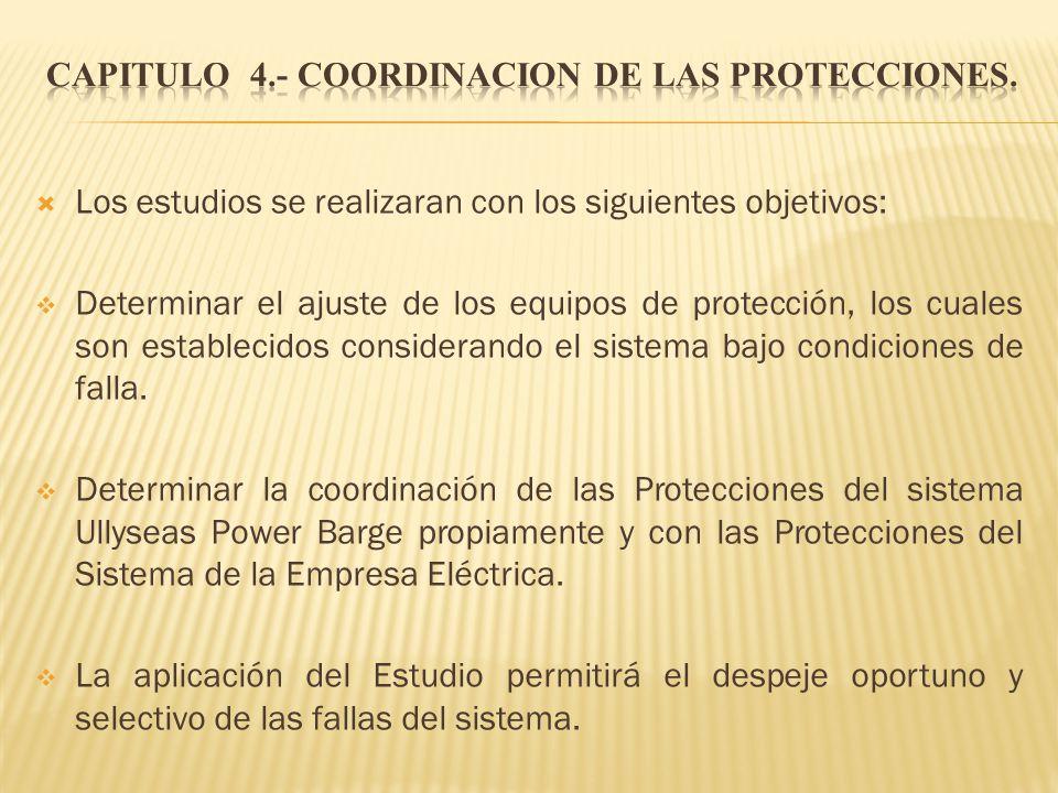 Los estudios se realizaran con los siguientes objetivos: Determinar el ajuste de los equipos de protección, los cuales son establecidos considerando e