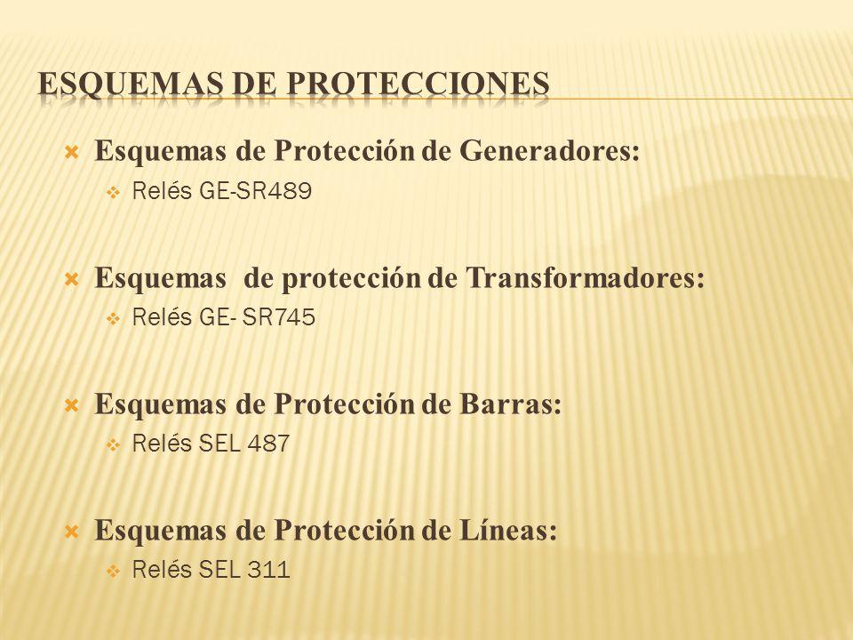 Esquemas de Protección de Generadores: Relés GE-SR489 Esquemas de protección de Transformadores: Relés GE- SR745 Esquemas de Protección de Barras: Rel