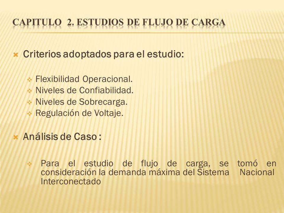 Criterios adoptados para el estudio: Flexibilidad Operacional. Niveles de Confiabilidad. Niveles de Sobrecarga. Regulación de Voltaje. Análisis de Cas