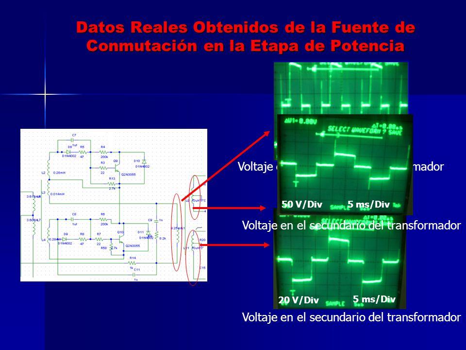 Datos Reales Obtenidos de la Fuente de Conmutación en la Etapa de Potencia Voltaje en el primario del transformador Voltaje en el secundario del trans