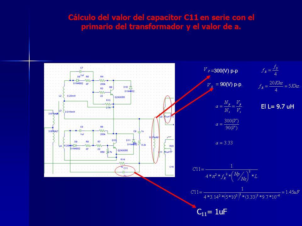Cálculo del valor del capacitor C11 en serie con el primario del transformador y el valor de a. =300(V) p-p = 90(V) p-p. El L= 9.7 uH C 11 = 1uF