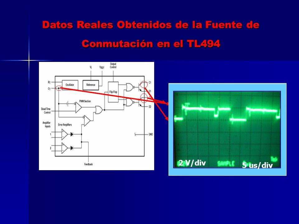 Datos Reales Obtenidos de la Fuente de Conmutación en el TL494 2 V/Div 5 us/Div 2 V/div5 us/div 2 V/div 5 us/div