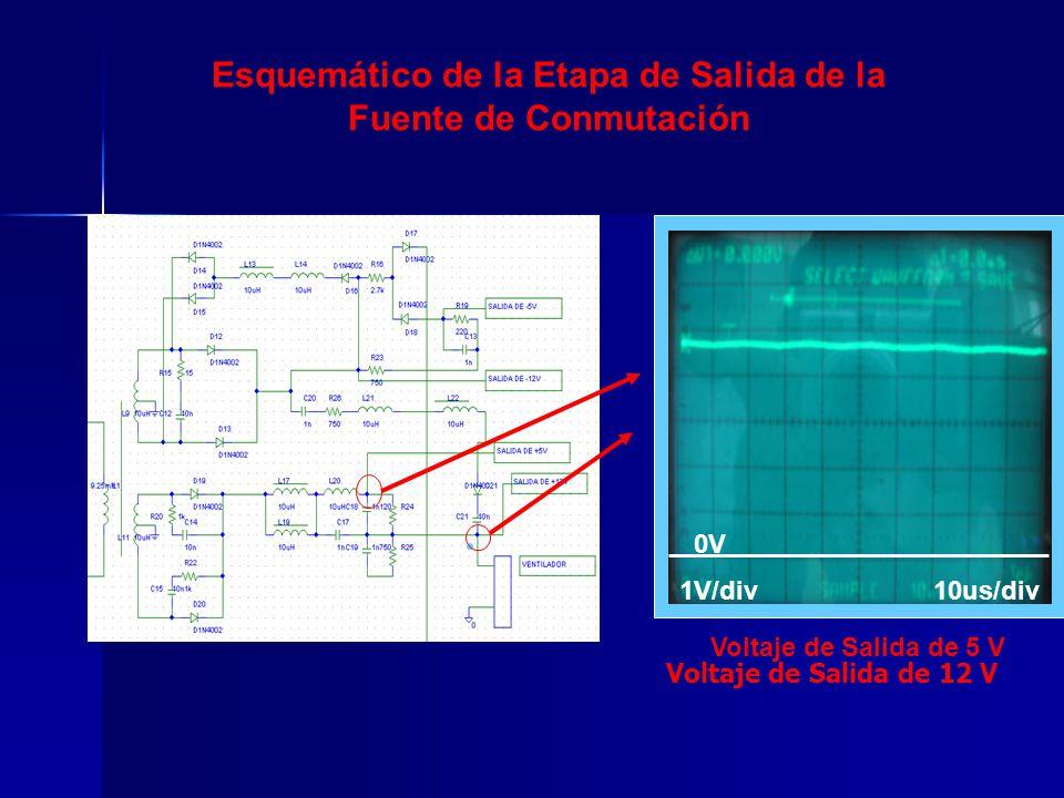 Esquemático de la Etapa de Salida de la Fuente de Conmutación 0V2V/div Voltaje de Salida de 12 V 0V 1V/div10us/div Voltaje de Salida de 5 V
