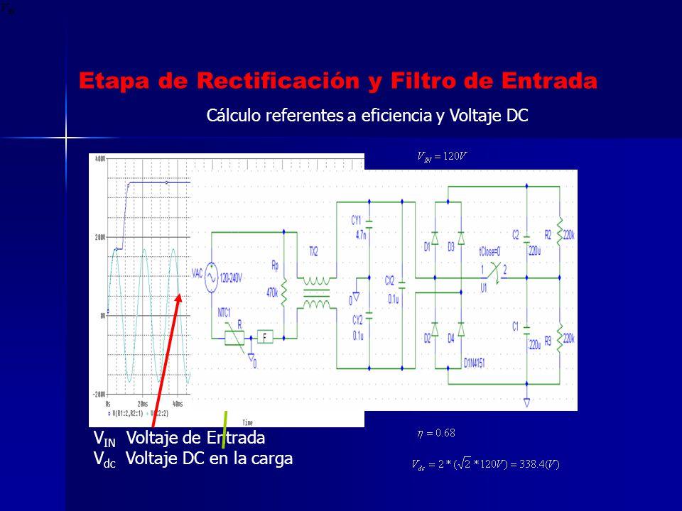 Etapa de Rectificación y Filtro de Entrada V IN Voltaje de Entrada V dc Voltaje DC en la carga Cálculo referentes a eficiencia y Voltaje DC