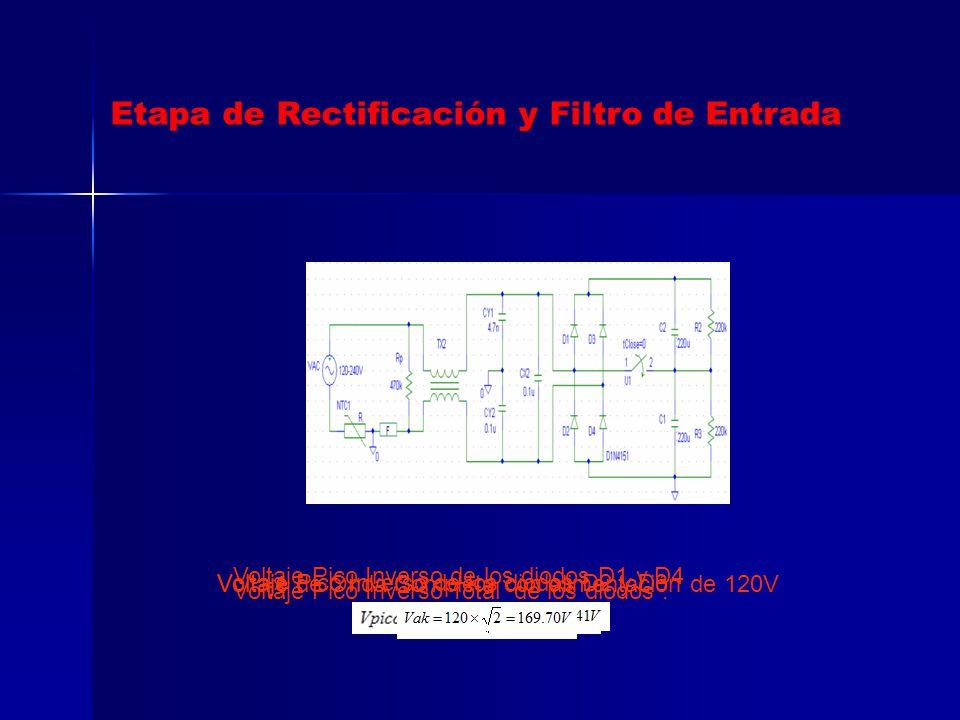 Voltaje de Onda Completa con alimentación de 120V Voltaje Pico Inverso de los diodos D1 y D4 Voltaje Pico Inverso de los diodos D2 y D3 Voltaje Pico I