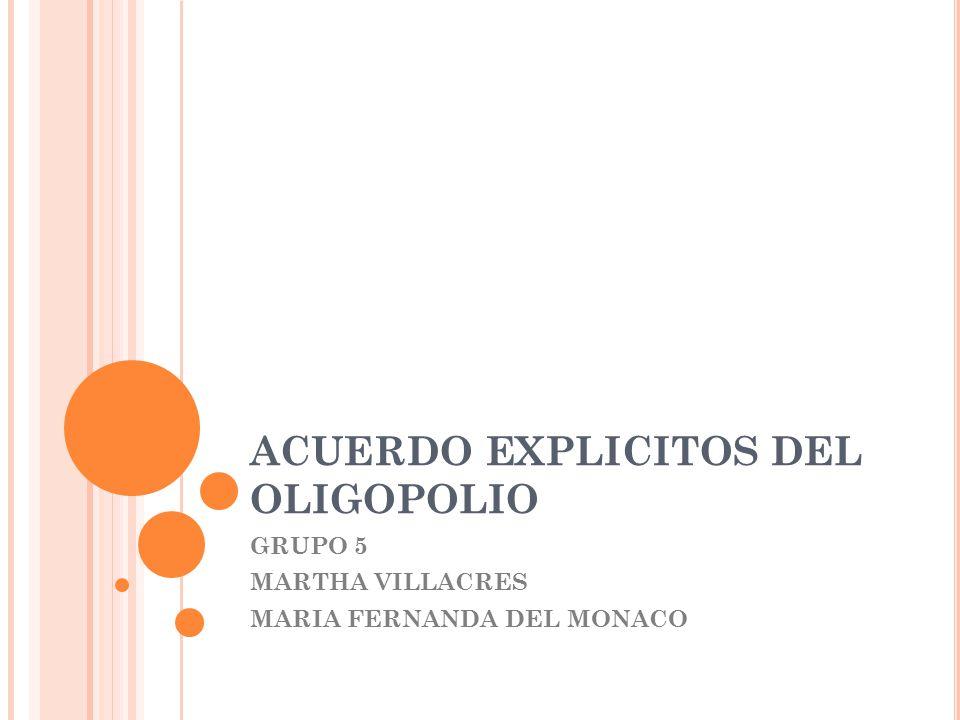 ACUERDO EXPLICITOS DEL OLIGOPOLIO GRUPO 5 MARTHA VILLACRES MARIA FERNANDA DEL MONACO