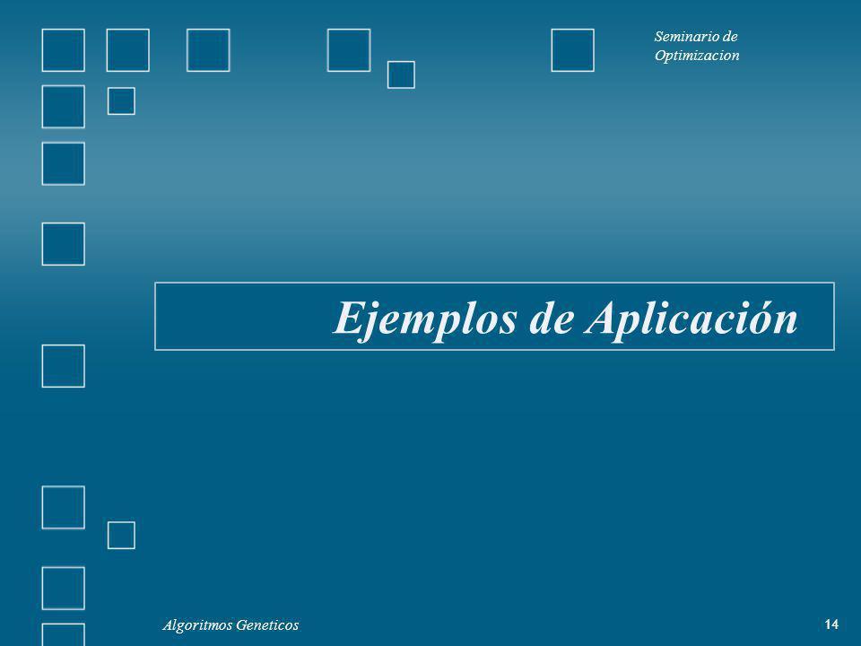 Seminario de Optimizacion Algoritmos Geneticos 14 Ejemplos de Aplicación